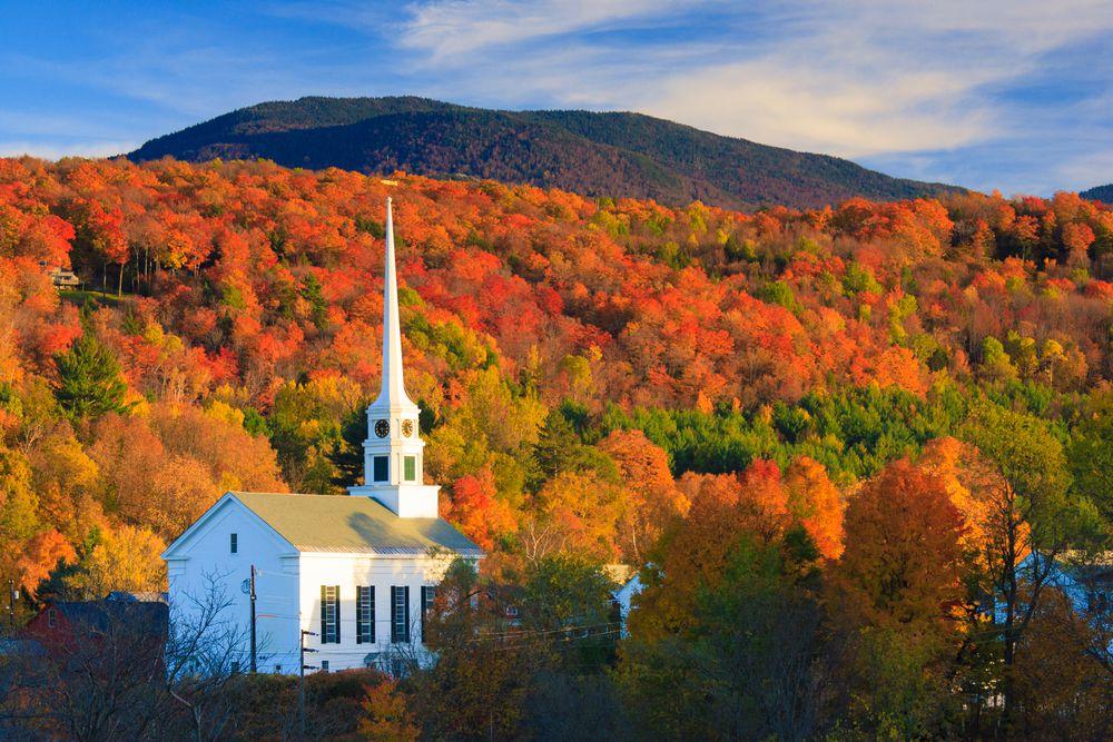 Stowe Community Church Fall, Vermont